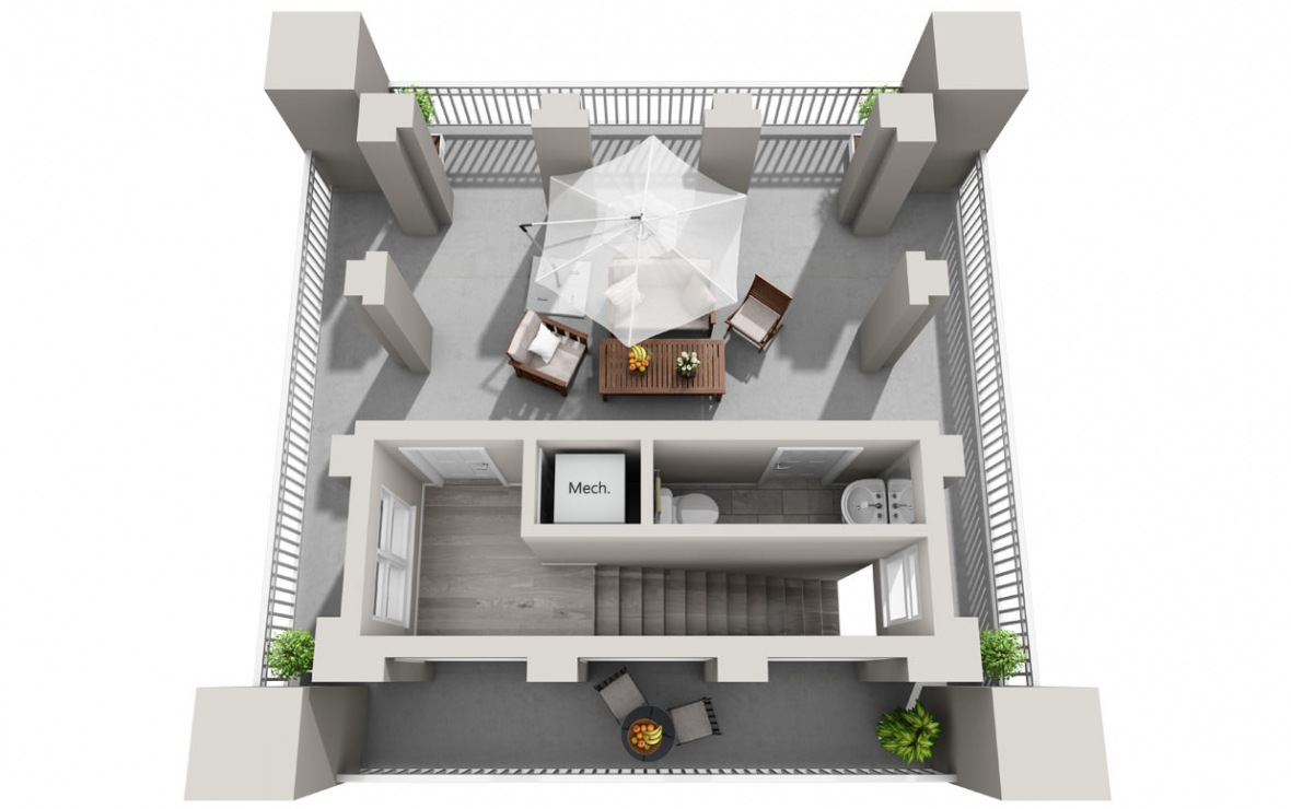 The Tower - 3 bedroom floorplan layout with 3 baths and 1950 square feet. (Floor 3 / 3D)